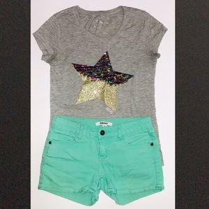 JUSTICE GRAY SEQUINS TOP & DKNY SHORTS SIZE 10 SET